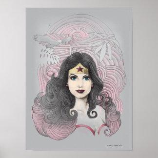 Mujer Maravilla Eagle y árboles Póster