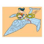 Mujer Maravilla en la nave espacial Postal