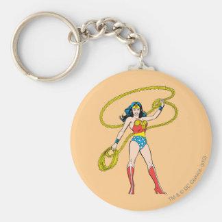 Mujer Maravilla que se coloca con el lazo Llavero Redondo Tipo Pin