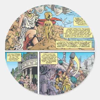 Mujer Maravilla Themyscira Pegatina Redonda