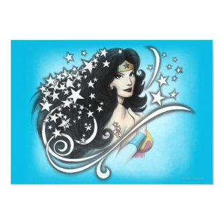 Mujer Maravilla y estrellas Invitación 12,7 X 17,8 Cm