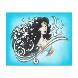 Mujer Maravilla y estrellas Impresion De Lienzo