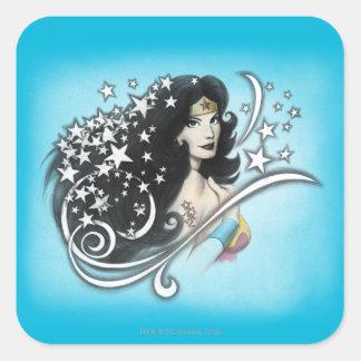 Mujer Maravilla y estrellas Pegatina Cuadrada
