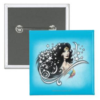 Mujer Maravilla y estrellas Pin Cuadrada 5 Cm