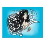 Mujer Maravilla y estrellas Postal