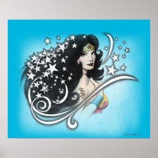 Mujer Maravilla y estrellas Póster
