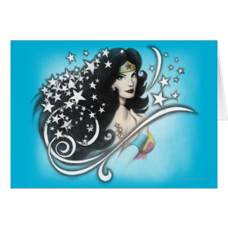 Mujer Maravilla y estrellas Tarjeta De Felicitación