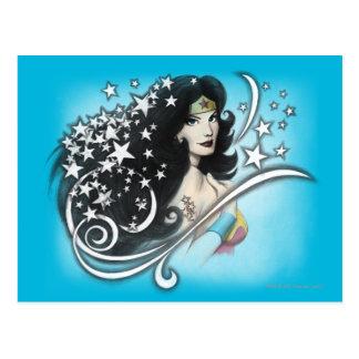 Mujer Maravilla y estrellas Tarjetas Postales