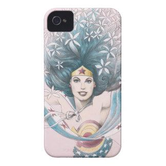 Mujer Maravilla y flores Case-Mate iPhone 4 Coberturas