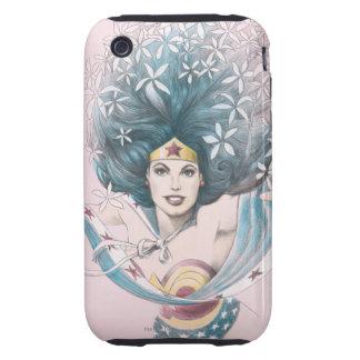 Mujer Maravilla y flores Tough iPhone 3 Cárcasas
