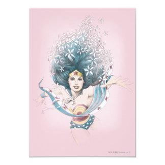 """Mujer Maravilla y flores Invitación 5"""" X 7"""""""
