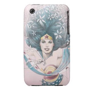 Mujer Maravilla y flores iPhone 3 Case-Mate Cobertura