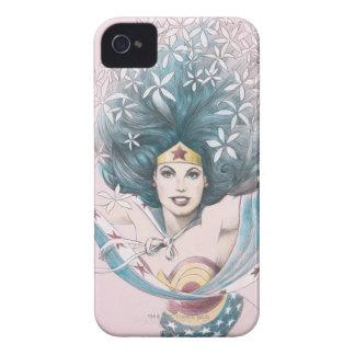 Mujer Maravilla y flores iPhone 4 Protectores