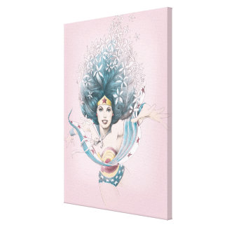 Mujer Maravilla y flores Lienzo Envuelto Para Galerias