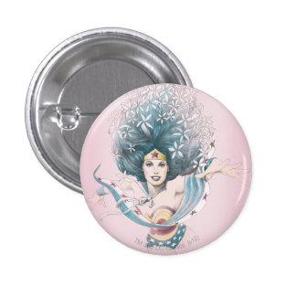 Mujer Maravilla y flores Pin Redondo 2,5 Cm