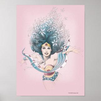 Mujer Maravilla y flores Póster