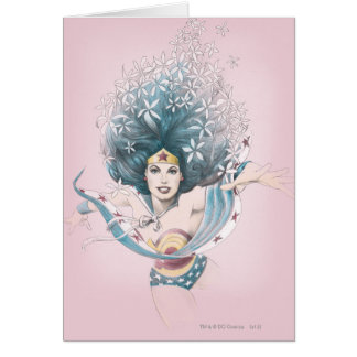 Mujer Maravilla y flores Tarjeta De Felicitación