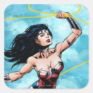 Mujer Maravilla y lazo de la verdad Pegatina Cuadrada