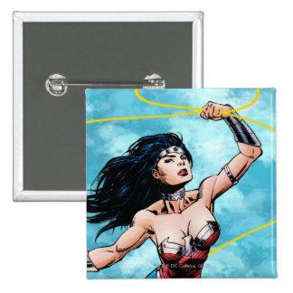 Mujer Maravilla y lazo de la verdad Pin Cuadrada 5 Cm