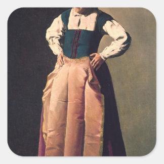 Mujer mayor, c.1618-19 pegatina cuadrada
