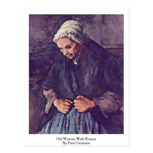 Mujer mayor con el rosario de Paul Cezanne Postales