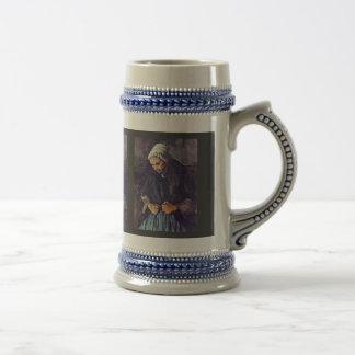 Mujer mayor con el rosario de Paul Cézanne Taza De Café