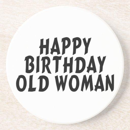 Mujer mayor del feliz cumpleaños posavasos de arenisca