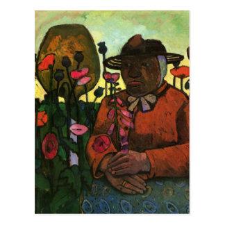 Mujer mayor en el jardín de Paula Modersohn-Becker Postal