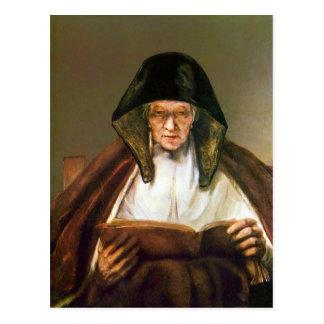 Mujer mayor leyendo por Rembrandt Tarjetas Postales