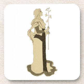 Mujer medieval que lleva a cabo la rama posavasos