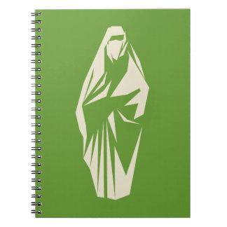 Mujer musulmán vestida libretas