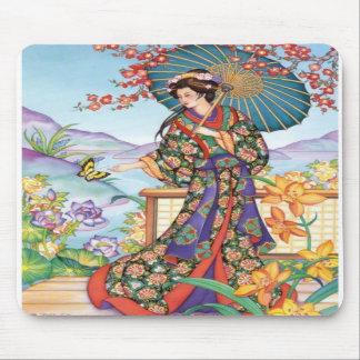 Mujer noble con el parasol Mousepad