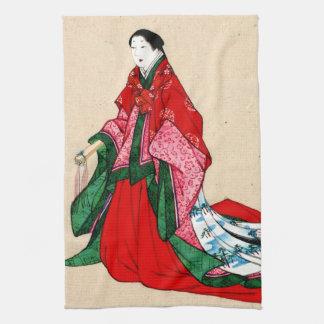 Mujer noble japonesa con las cejas artificiales 18 toalla de mano