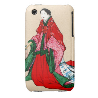 Mujer noble japonesa con las cejas artificiales Case-Mate iPhone 3 protector