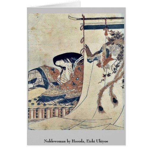 Mujer noble por Hosoda, Eishi Ukiyoe Tarjetas