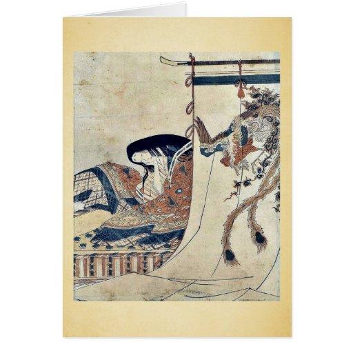Mujer noble por Hosoda, Eishi Ukiyoe Tarjeton