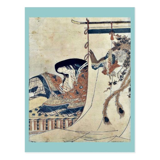 Mujer noble por Hosoda, Eishi Ukiyoe Postal