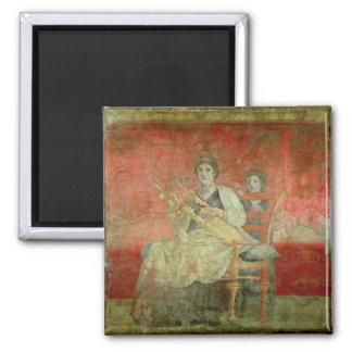 Mujer noble que juega un Cithera Imán Cuadrado