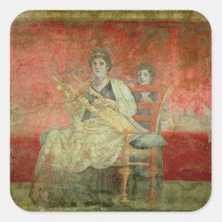 Mujer noble que juega un Cithera Pegatina Cuadrada