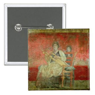 Mujer noble que juega un Cithera Pin Cuadrada 5 Cm