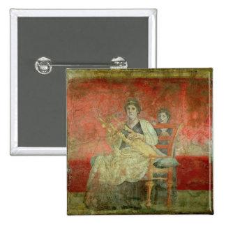 Mujer noble que juega un Cithera Pin Cuadrado