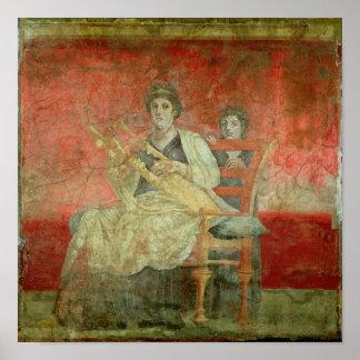 Mujer noble que juega un Cithera Póster