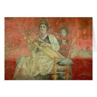 Mujer noble que juega un Cithera Tarjeta De Felicitación