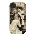 Mujer parisiense 1900 que bebe Champán iPhone 4 Fundas