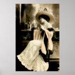 Mujer parisiense 1900 que bebe Champán Impresiones