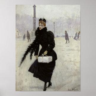 Mujer parisiense en la plaza de la Concordia Póster