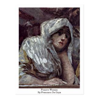 Mujer pensativa de Francisco De Goya Tarjeta Postal