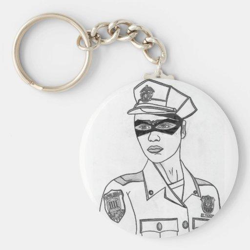 Mujer policía estupenda llaveros personalizados