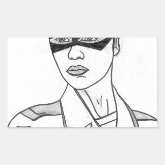 Mujer policía estupenda pegatina rectangular