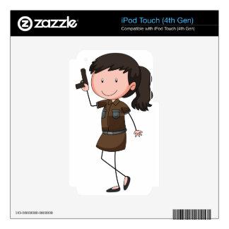 Mujer policía iPod touch 4G calcomanía